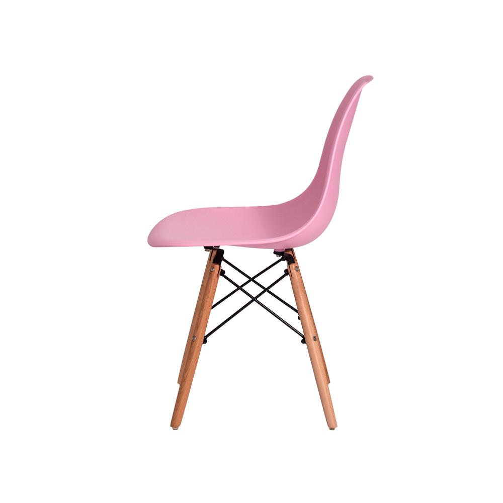 Kit 3 Cadeiras De Jantar Charles Eames Eiffel Rosa Claro Base De Madeira