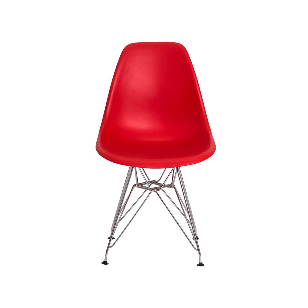 Kit 3 Cadeiras De Jantar Charles Eames Eiffel Vermelha Base De Aço Cromado