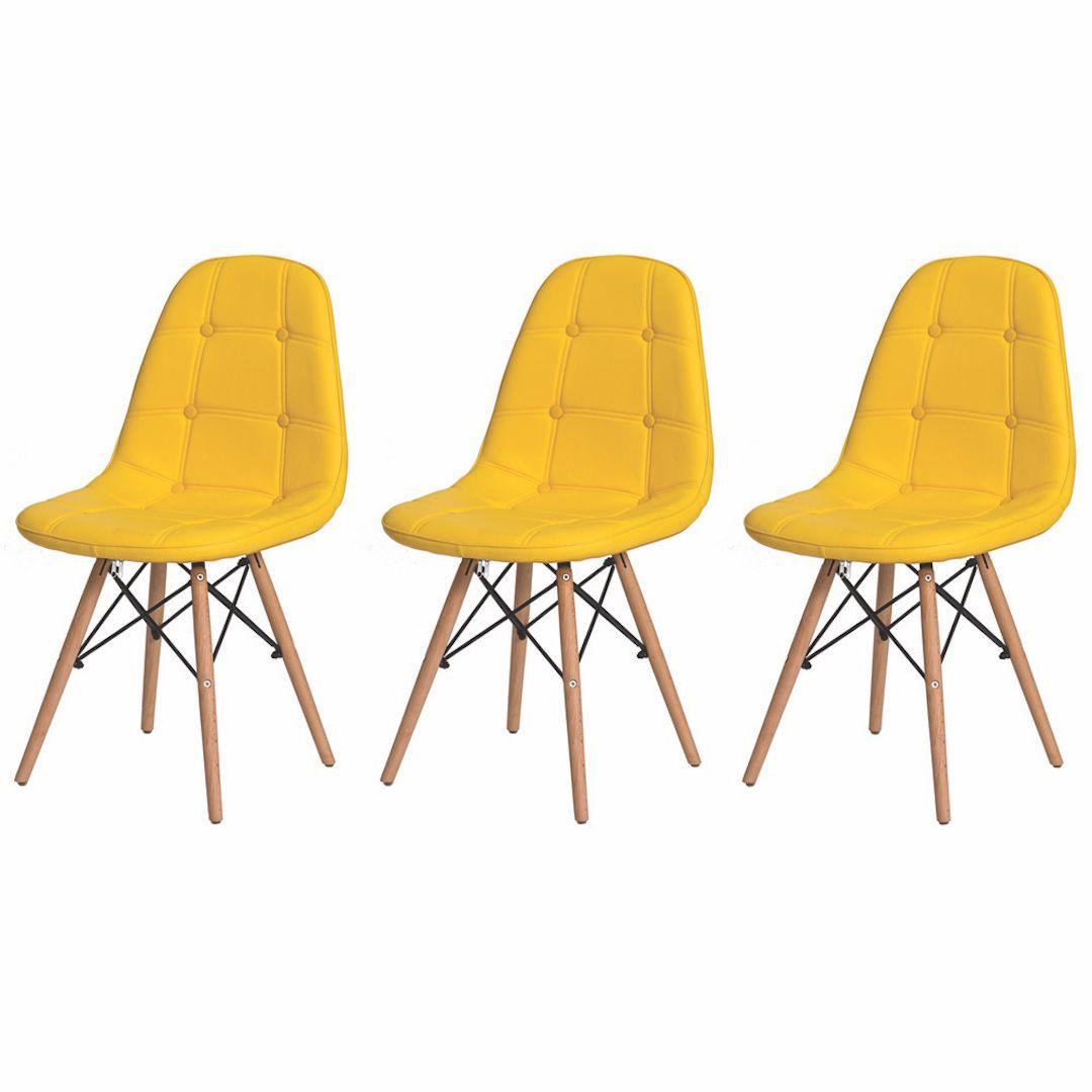 Kit 3 Cadeiras De Jantar Estofada Charles Eames Botonê Amarela Com Base De Madeira