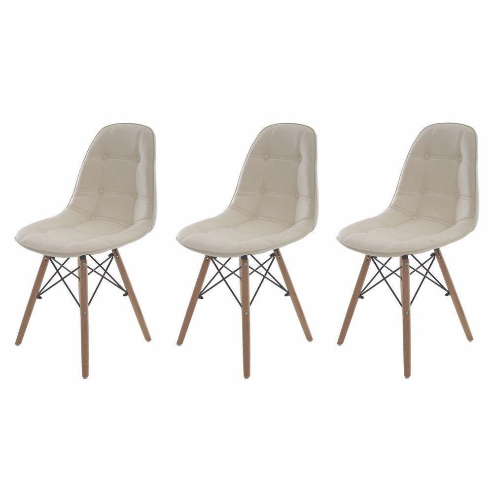 Kit 3 Cadeiras De Jantar Estofada Charles Eames Botonê Creme Com Base De Madeira