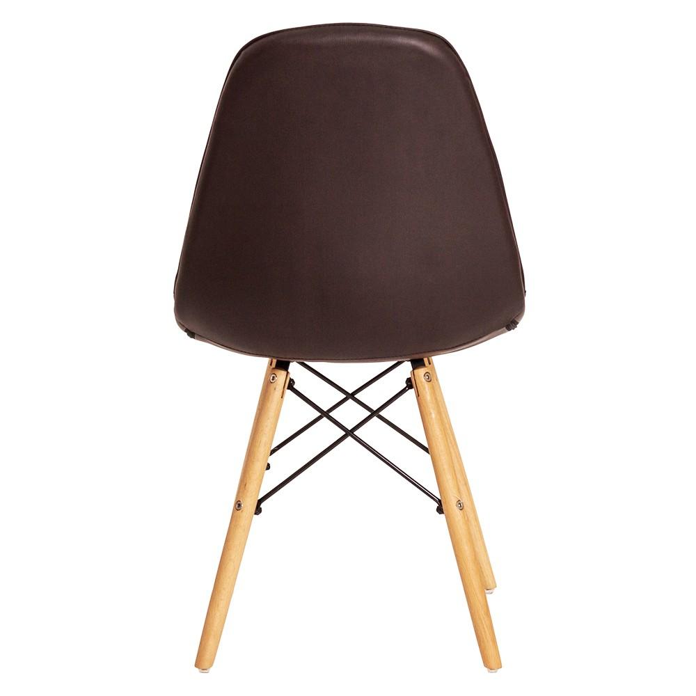 Kit 3 Cadeiras De Jantar Estofada Charles Eames Botonê Marrom Com Base De Madeira