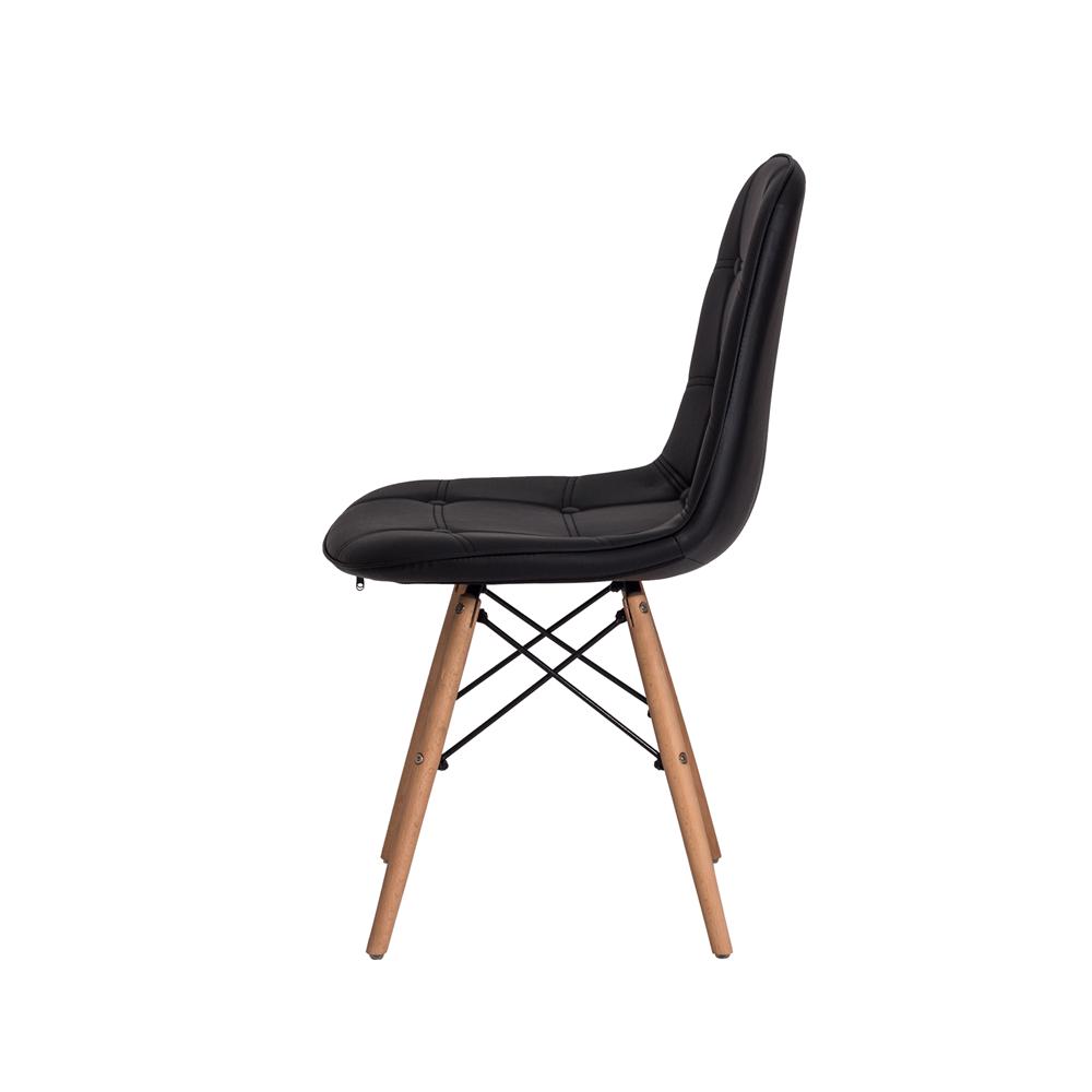 Kit 3 Cadeiras De Jantar Estofada Charles Eames Botonê Preta Com Base De Madeira