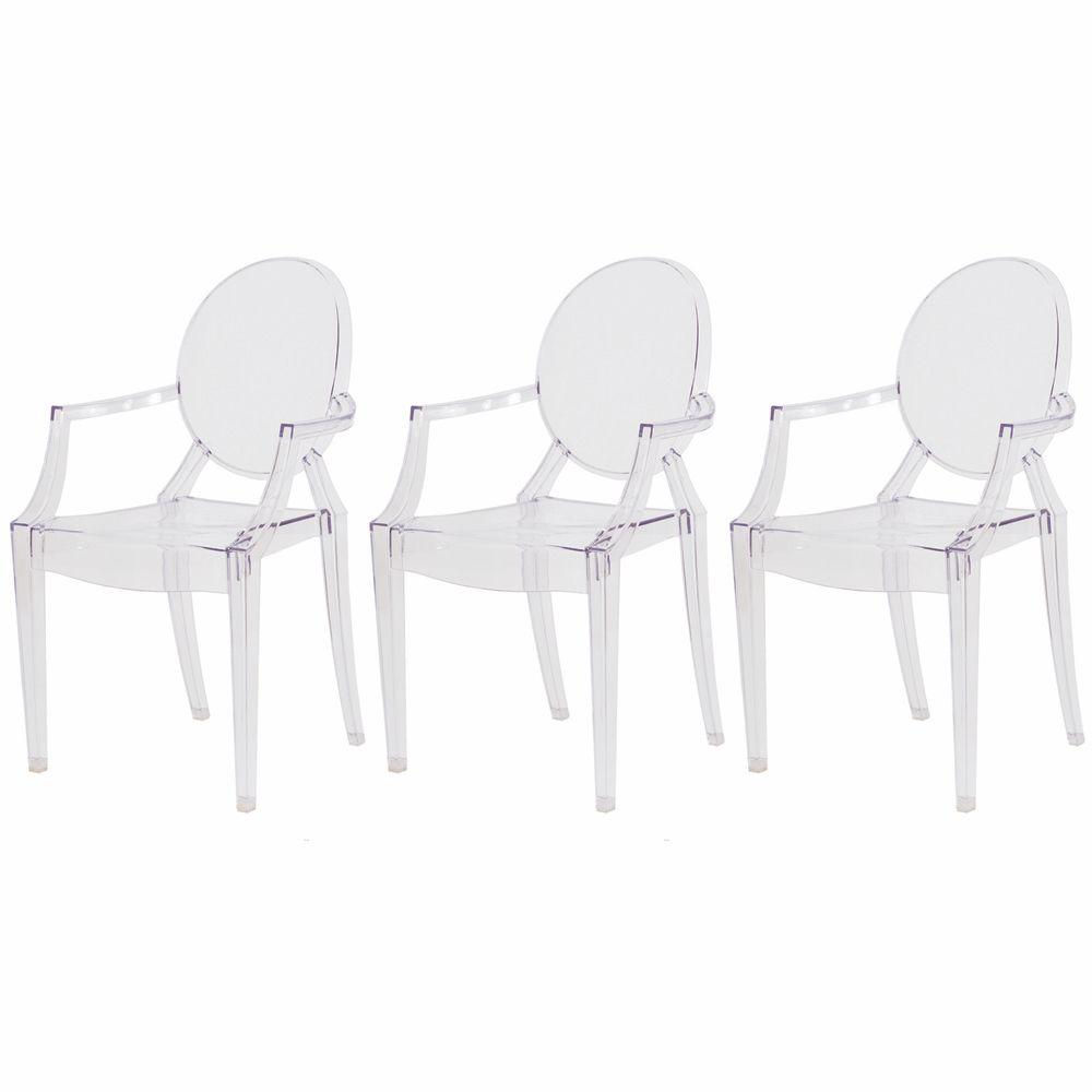 Kit 3 Cadeiras De Jantar Sofia Louis Ghost Com Braço Transparente