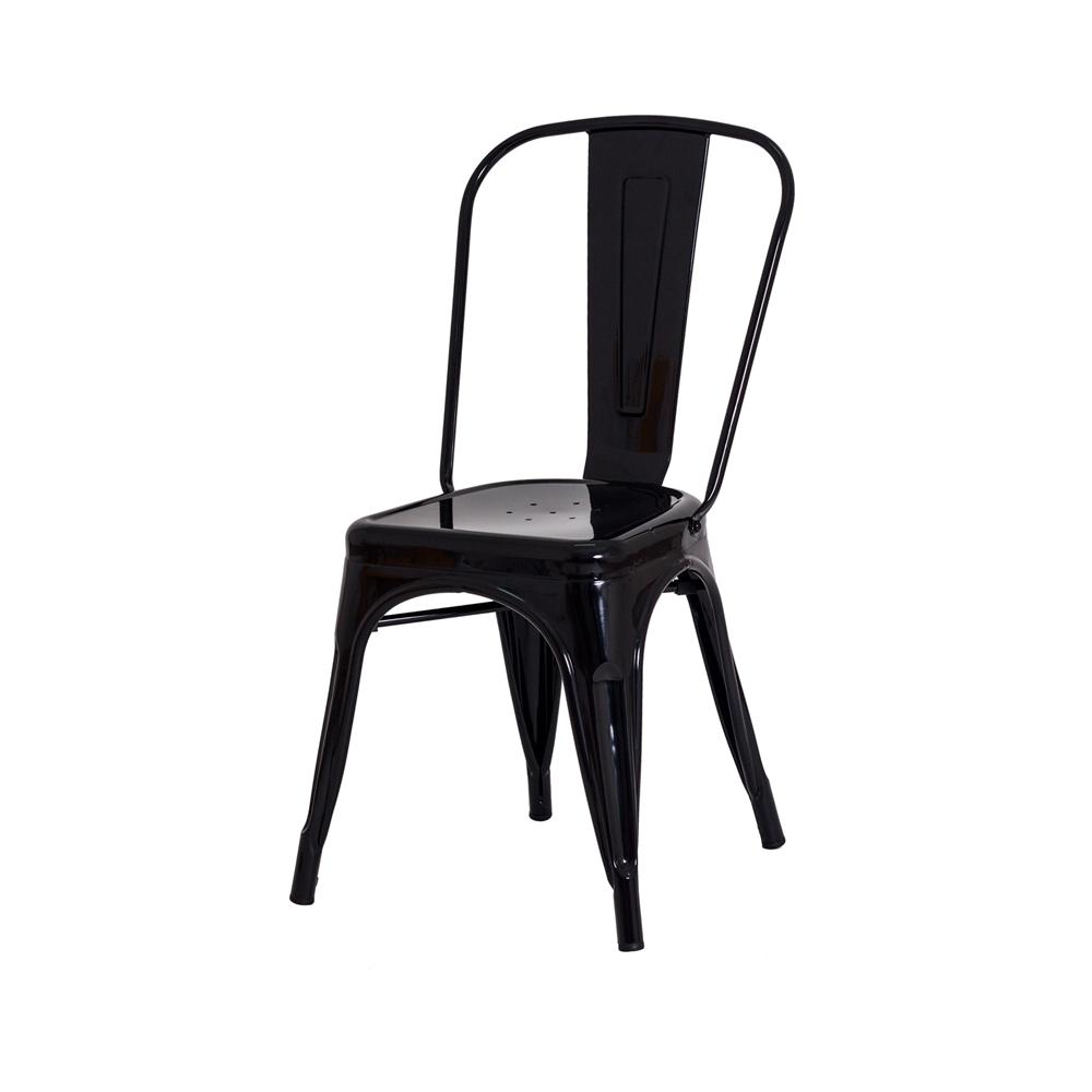 Kit 3 Cadeiras De Jantar Tolix Iron Industrial Preta