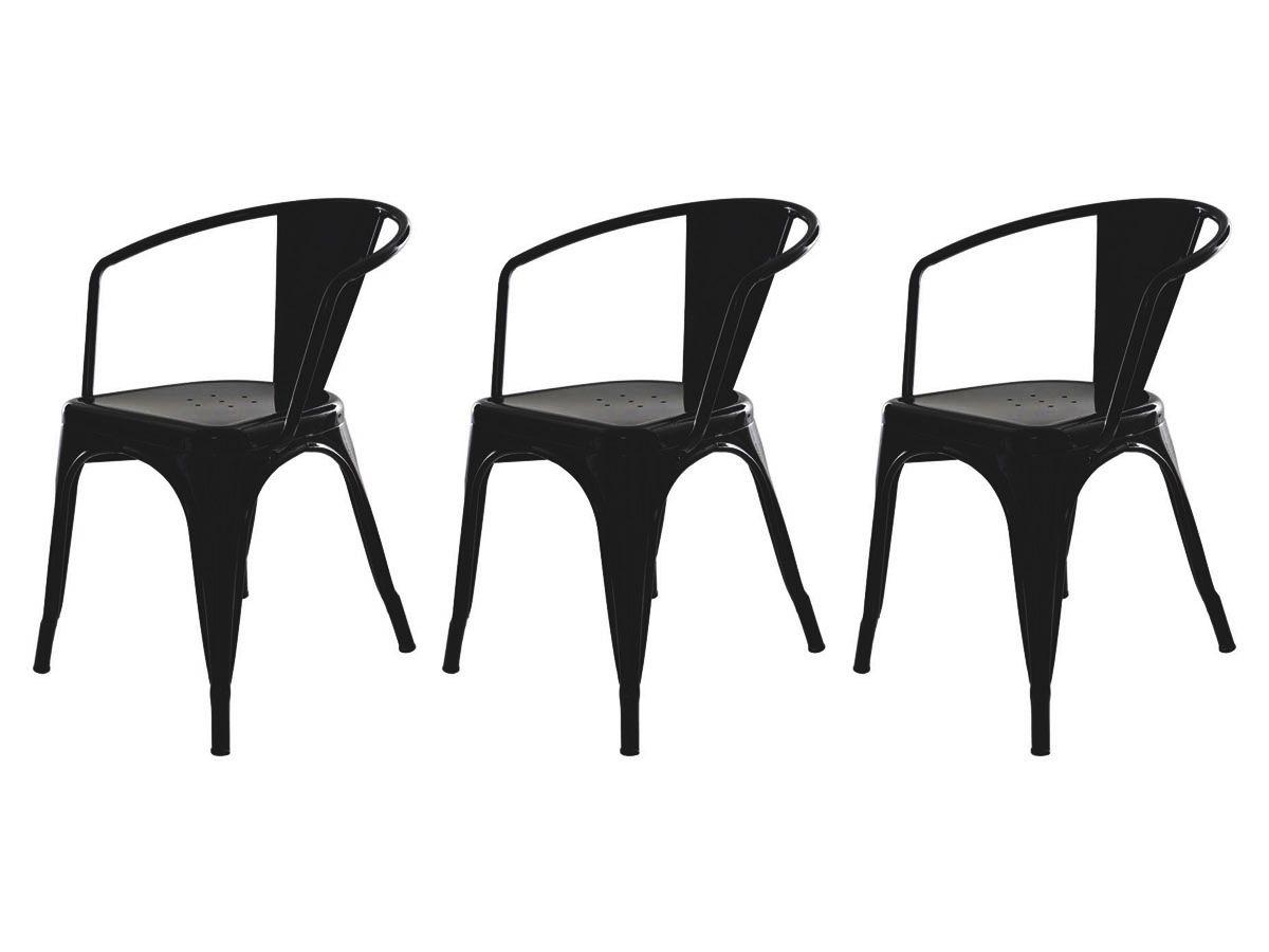 Kit 3 Cadeiras Para Mesa Sala De Jantar Tolix Iron Industrial Com Braço Preta