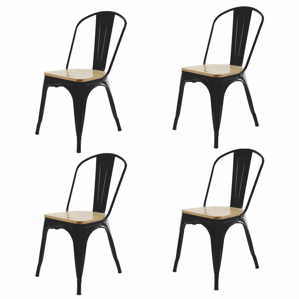 Kit 4 Cadeira Para Mesa Sala De Jantar Tolix Industrial Preta Com Assento De Madeira
