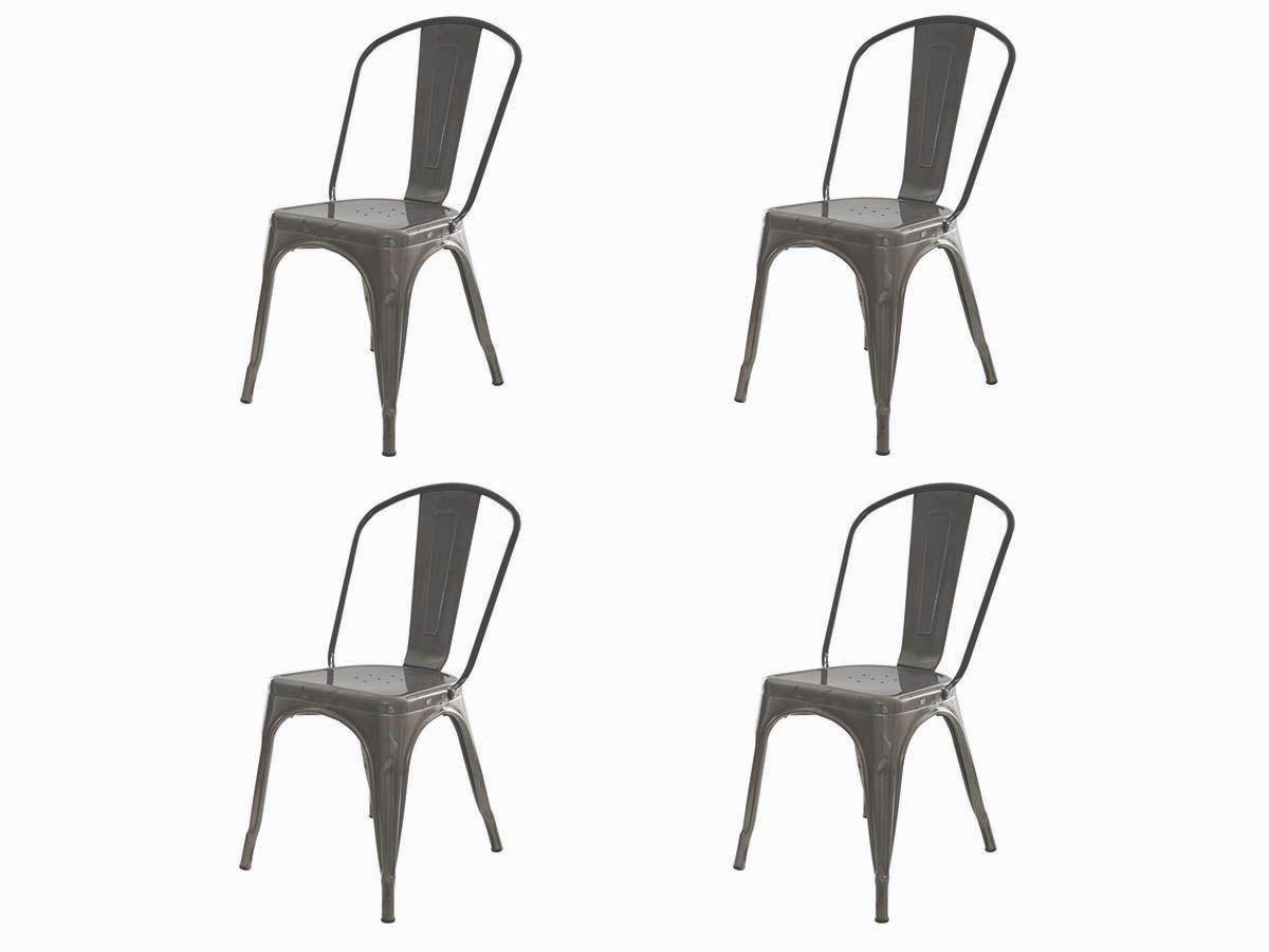 Kit 4 Cadeira Para Mesa Sala De Jantar Tolix Iron Industrial Metalizada Envelhecida