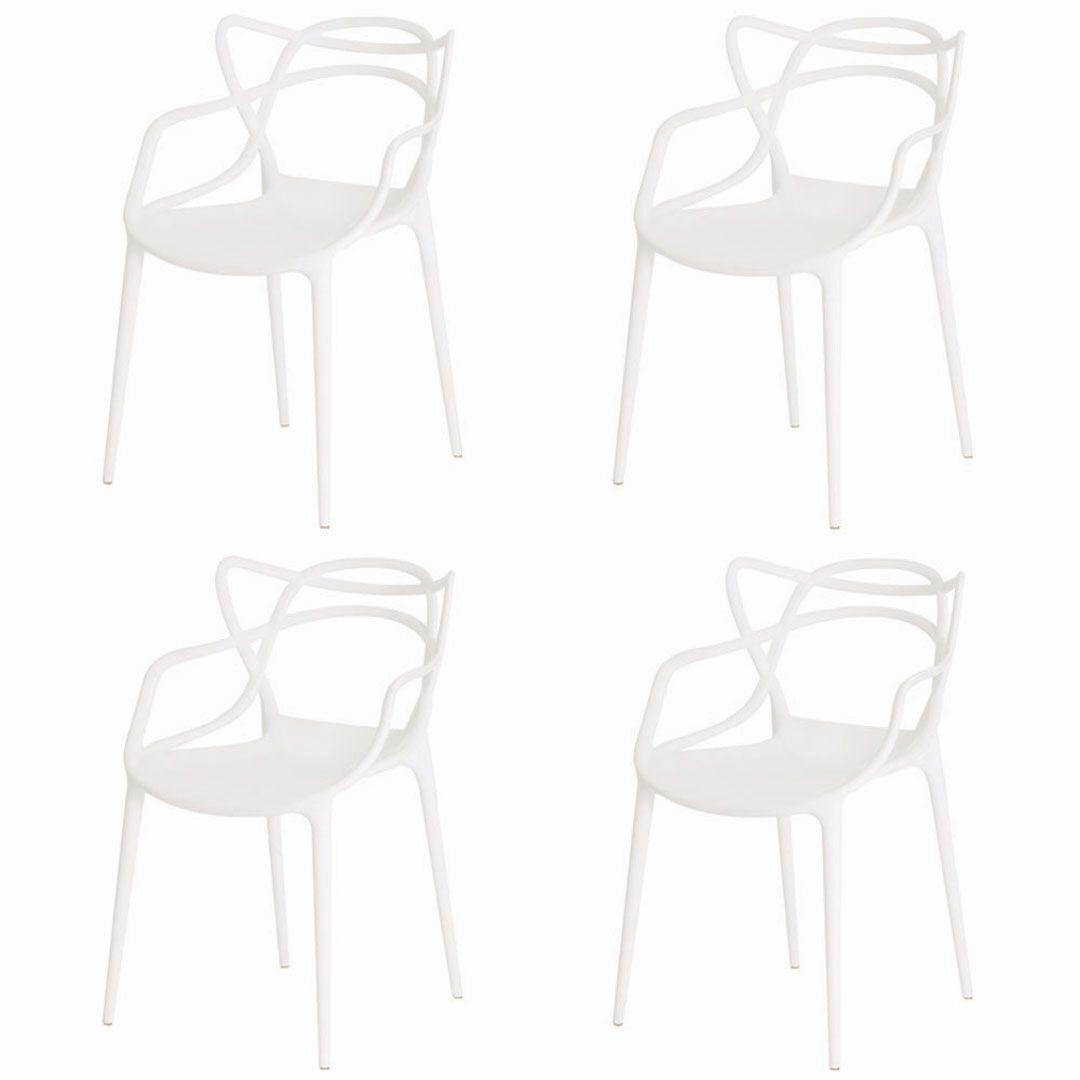 Kit 4 Cadeiras De Jantar Allegra Master Branco Com Inmetro