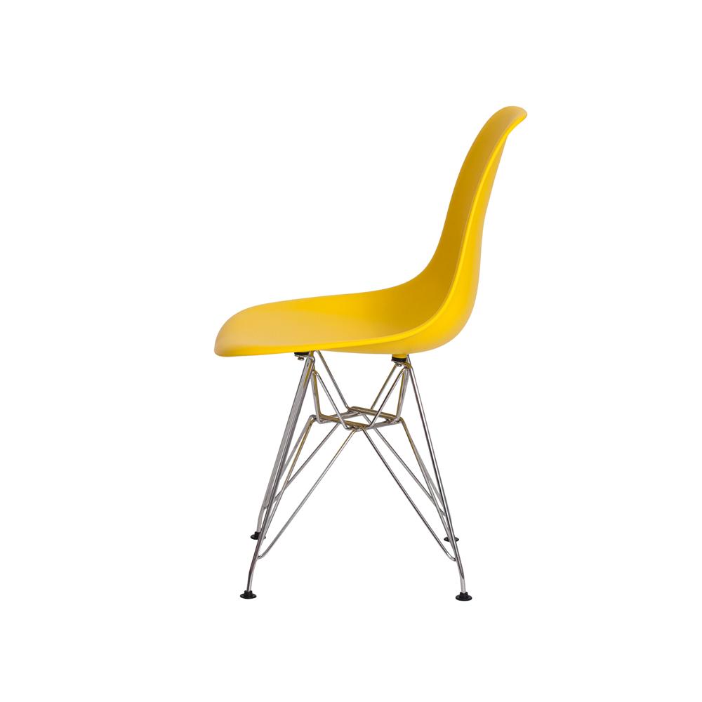 Kit 4 Cadeiras De Jantar Charles Eames Eiffel Amarela Base De Aço Cromado
