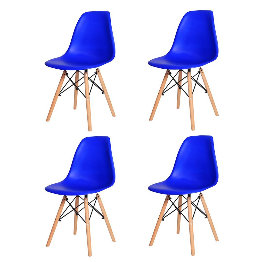 Kit 4 Cadeiras De Jantar Charles Eames Eiffel Azul Bic Com Base De Madeira