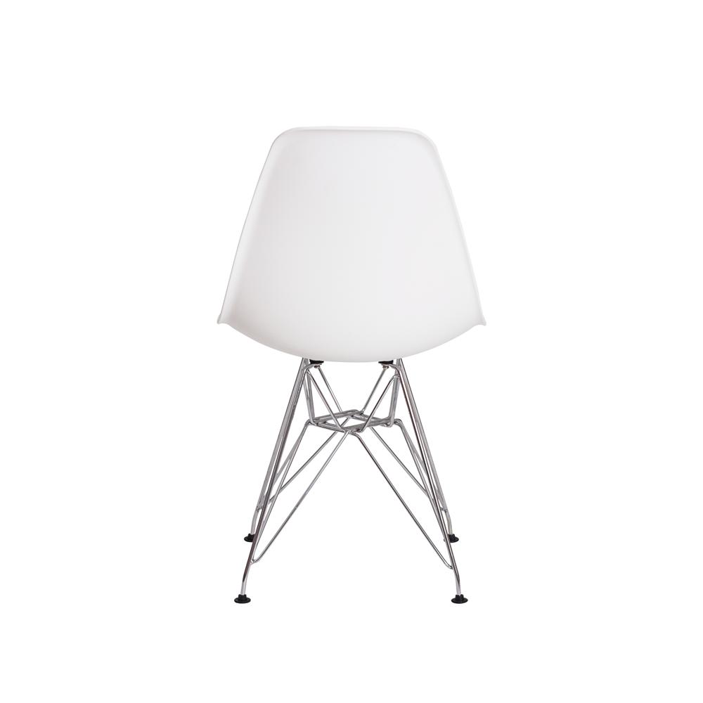 Kit 4 Cadeiras De Jantar Charles Eames Eiffel Branca  Base De Aço Cromado