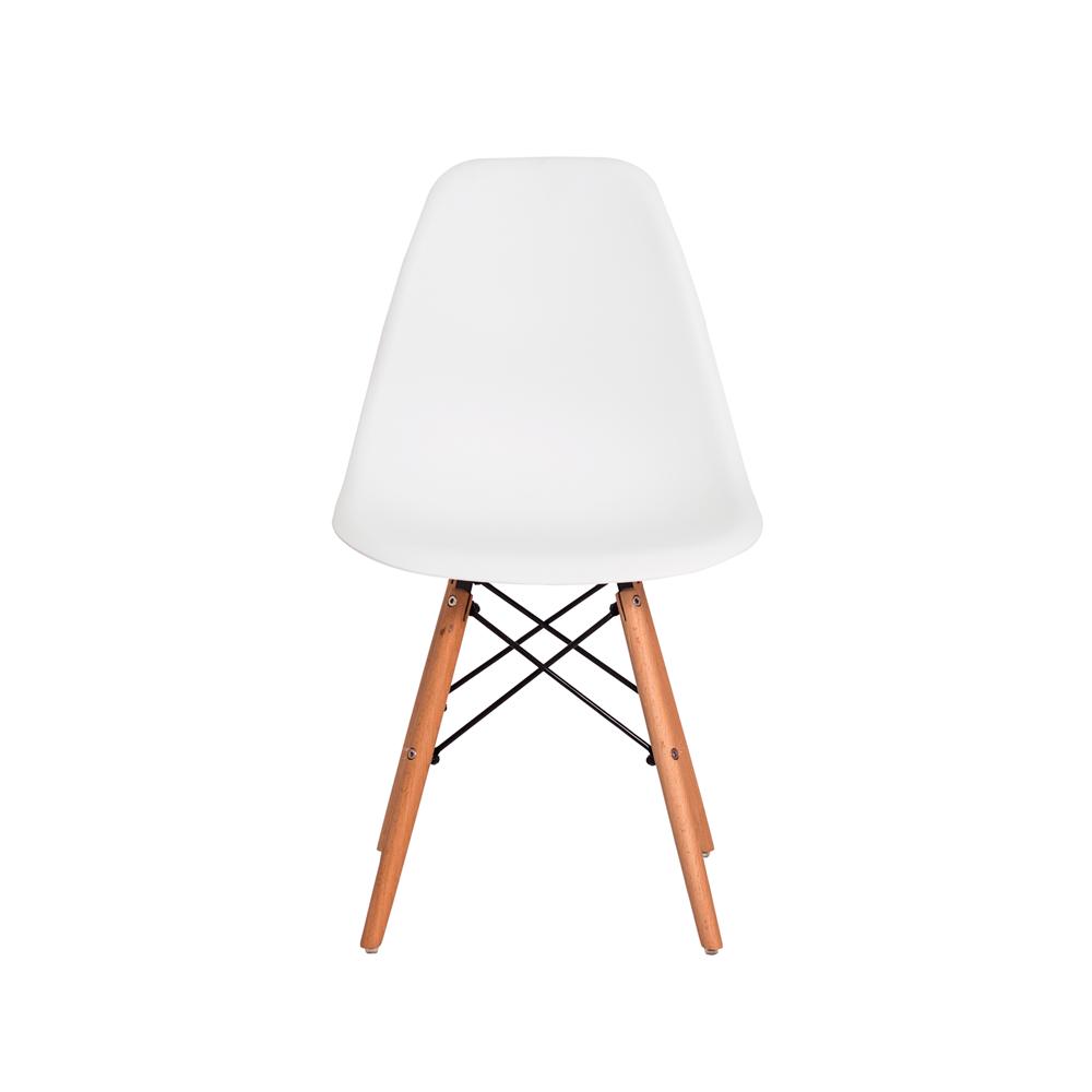 Kit 4 Cadeiras De Jantar Charles Eames Eiffel Branca Com Base De Madeira