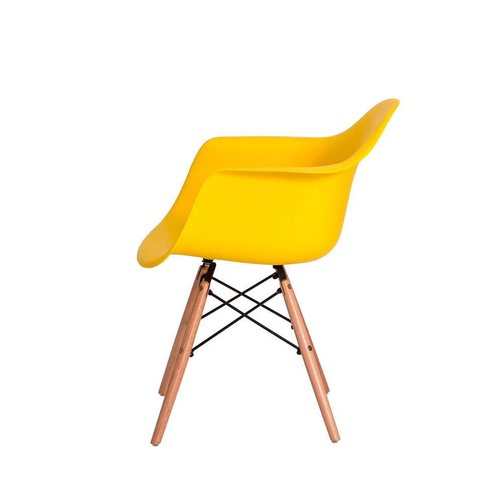 Kit 4 Cadeiras De Jantar Charles Eames Eiffel Com Braço Amarela Base De Madeira