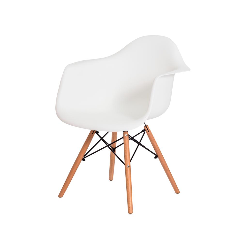 Kit 4 Cadeiras De Jantar Charles Eames Eiffel Com Braço Branco Base De Madeira