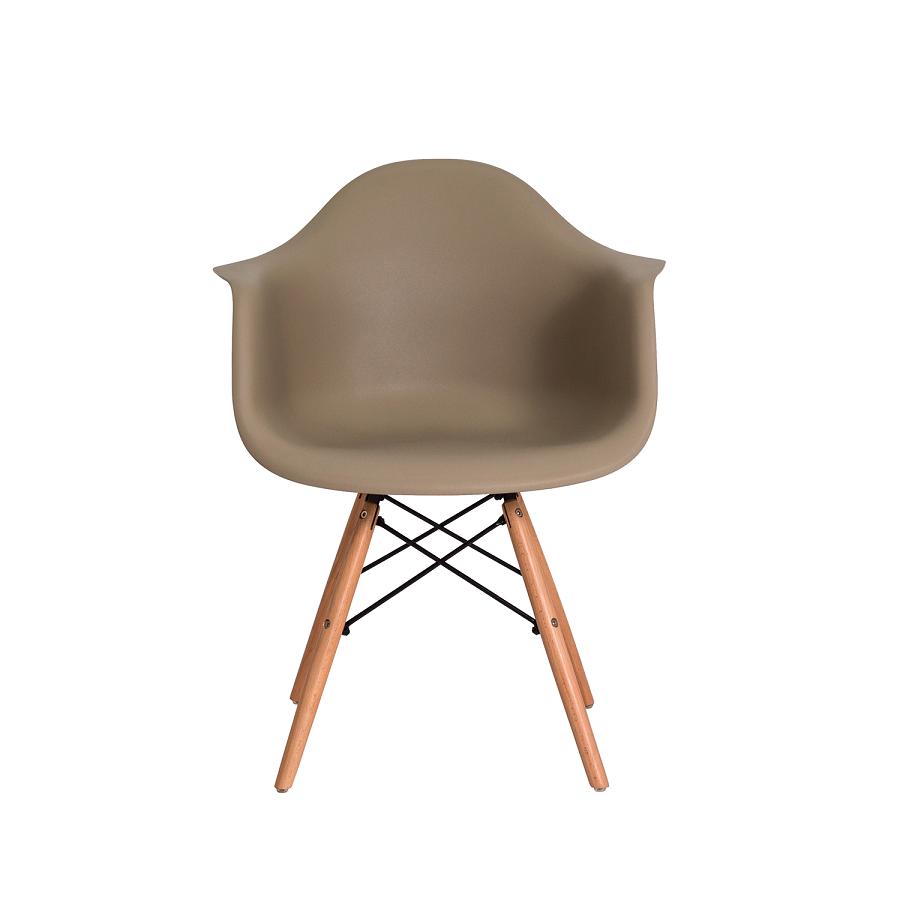 Kit 4 Cadeiras De Jantar Charles Eames Eiffel Com Braço Nude Base De Madeira