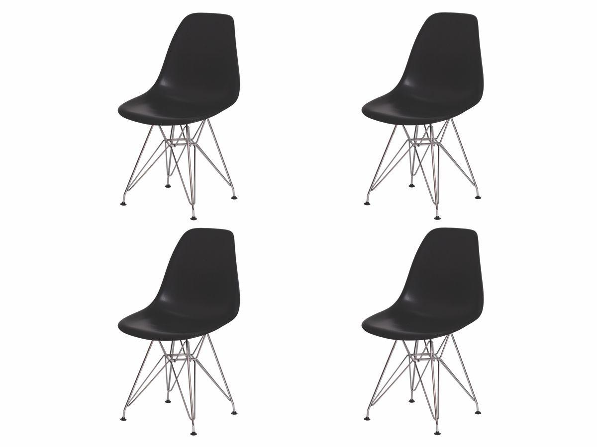 Kit 4 Cadeiras De Jantar Charles Eames Eiffel Preta Base De Aço Cromado