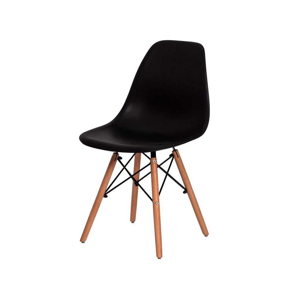 Kit 4 Cadeiras De Jantar Charles Eames Eiffel Preta Base De Madeira