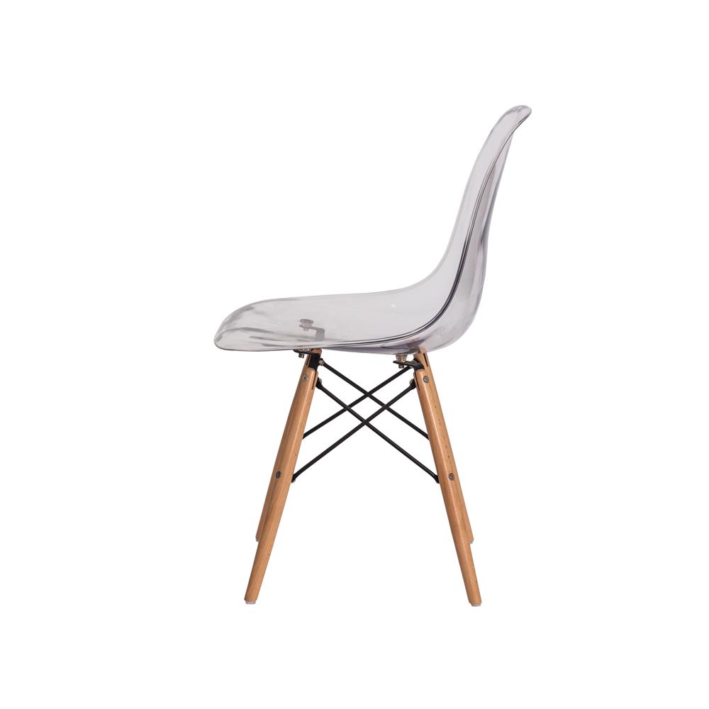 Kit 4 Cadeiras De Jantar Charles Eames Eiffel Transparente Com Base De Madeira