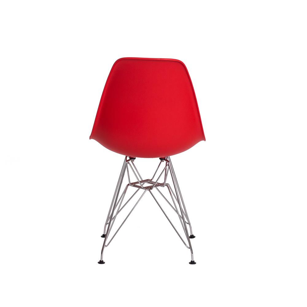 Kit 4 Cadeiras De Jantar Charles Eames Eiffel Vermelha Base De Aço Cromado