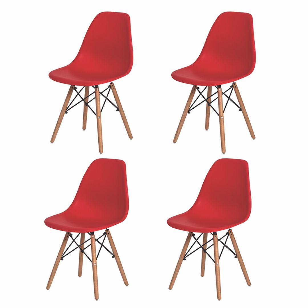 Kit 4 Cadeiras De Jantar Charles Eames Eiffel Vermelha Com Base De Madeira