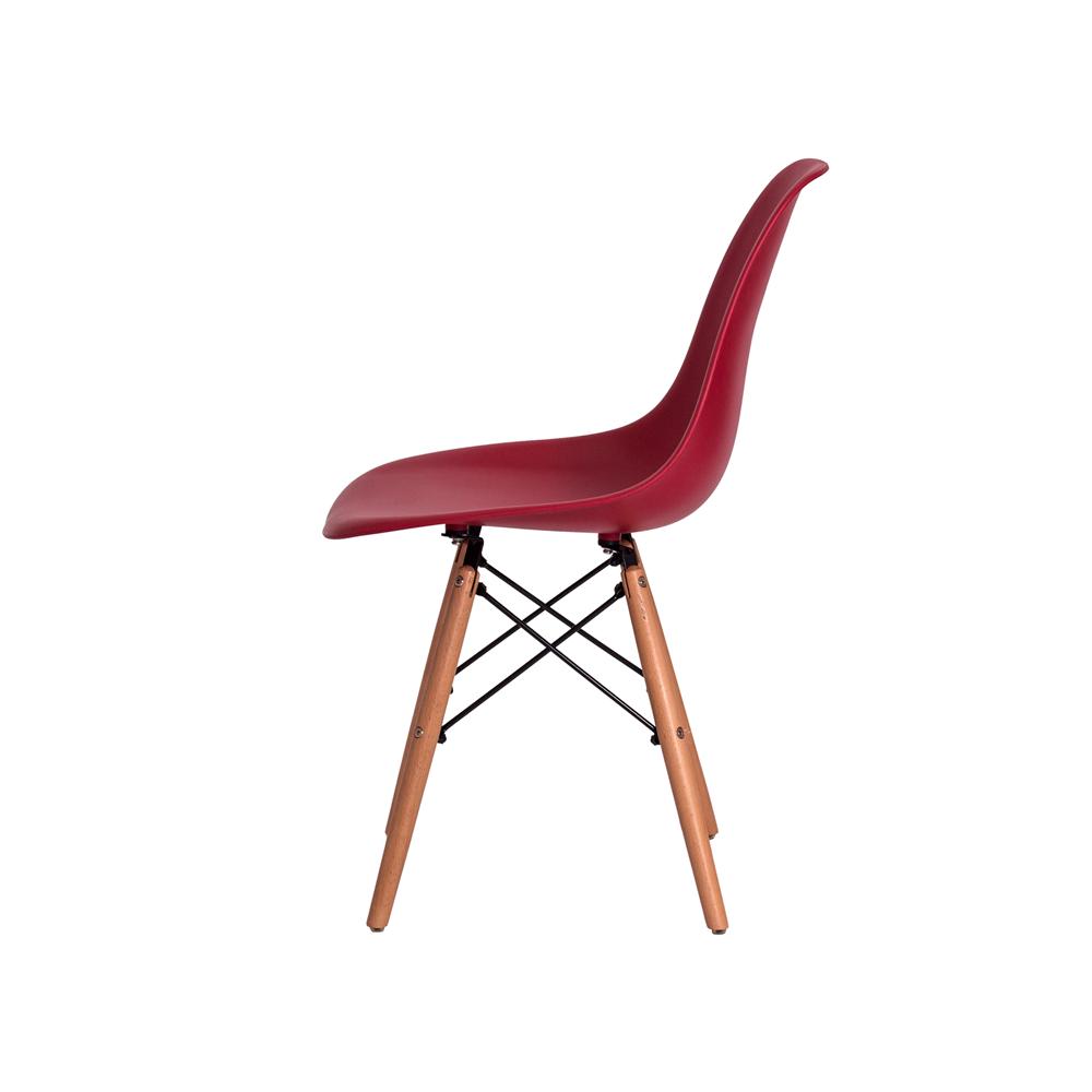 Kit 4 Cadeiras De Jantar Charles Eames Eiffel Vinho Base De Madeira