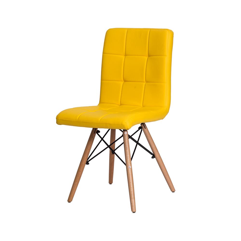 Kit 4 Cadeiras De Jantar Charles Eames Gomos Amarela Com Base De Madeira