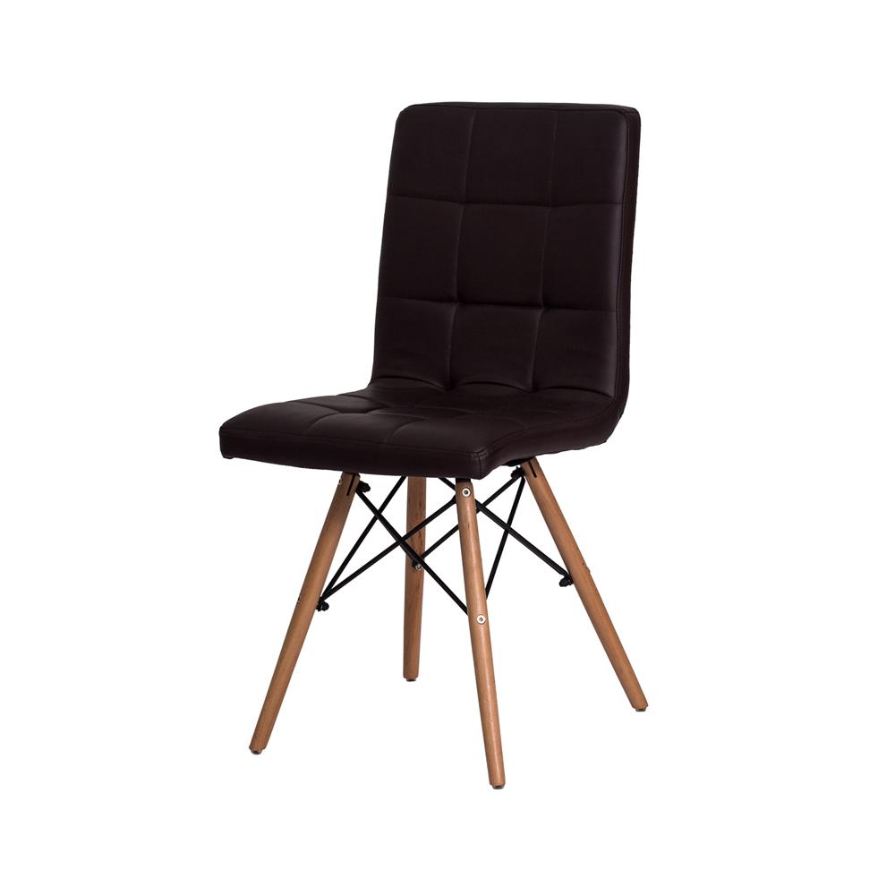 Kit 4 Cadeiras De Jantar Charles Eames Gomos Preta Com Base De Madeira