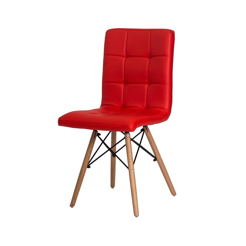 Kit 4 Cadeiras De Jantar Charles Eames Gomos Vermelho Com Base De Madeira