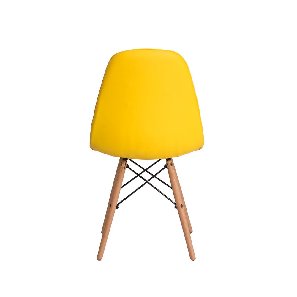Kit 4 Cadeiras De Jantar Estofada Charles Eames Botonê Amarela Com Base De Madeira