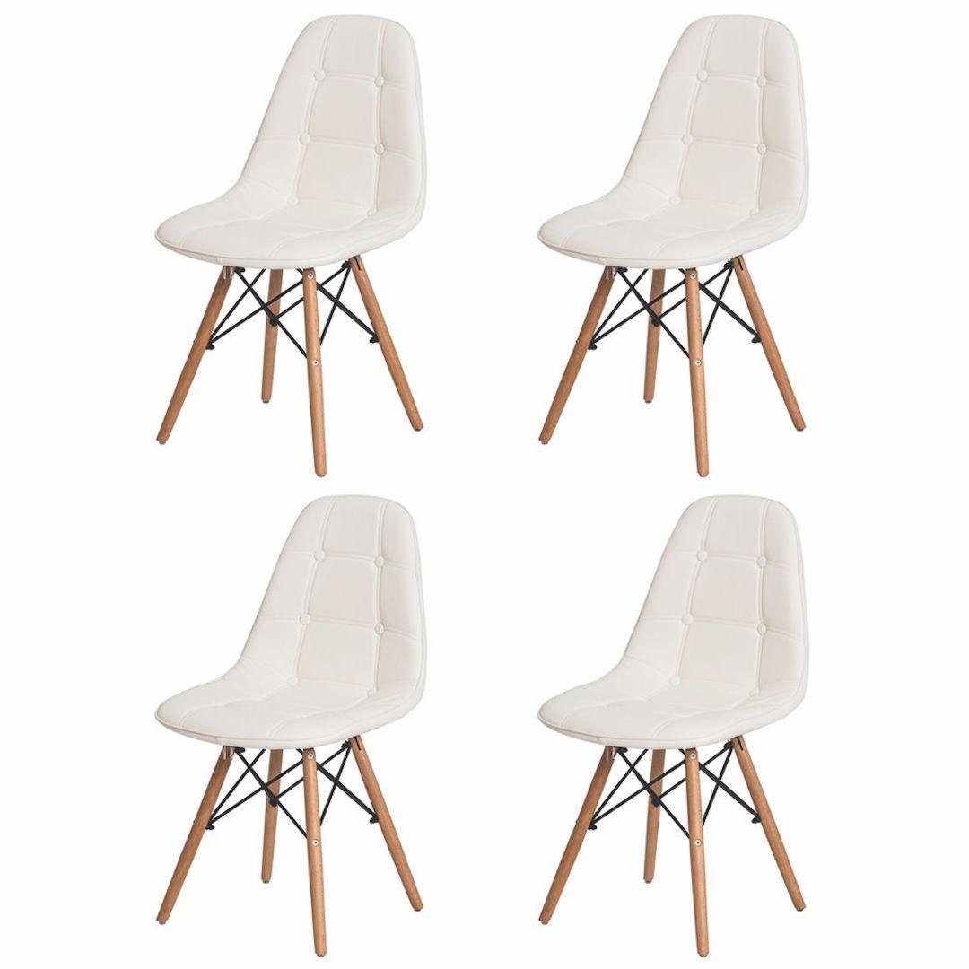 Kit 4 Cadeiras De Jantar Estofada Charles Eames Botonê Branca Com Base De Madeira