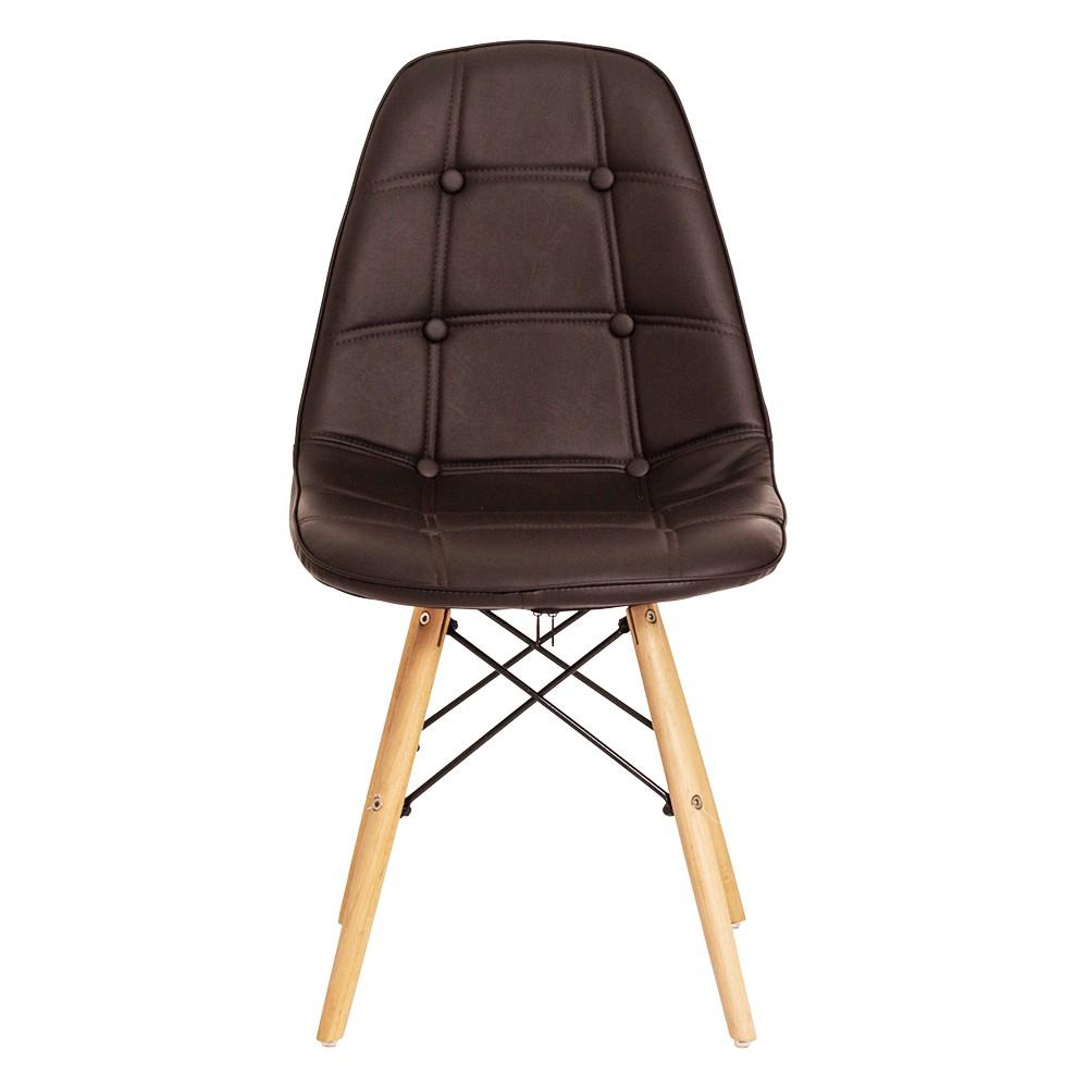 Kit 4 Cadeiras De Jantar Estofada Charles Eames Botonê Marrom Com Base De Madeira