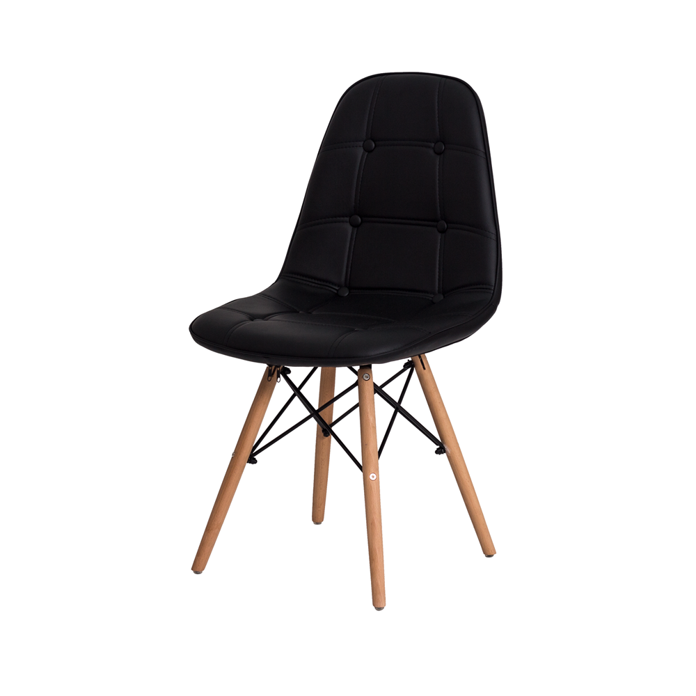 Kit 4 Cadeiras De Jantar Estofada Charles Eames Botonê Preta Com Base De Madeira