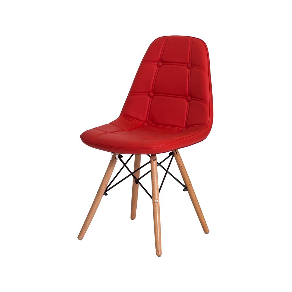 Kit 4 Cadeiras De Jantar Estofada Charles Eames Botonê Vermelha Com Base De Madeira