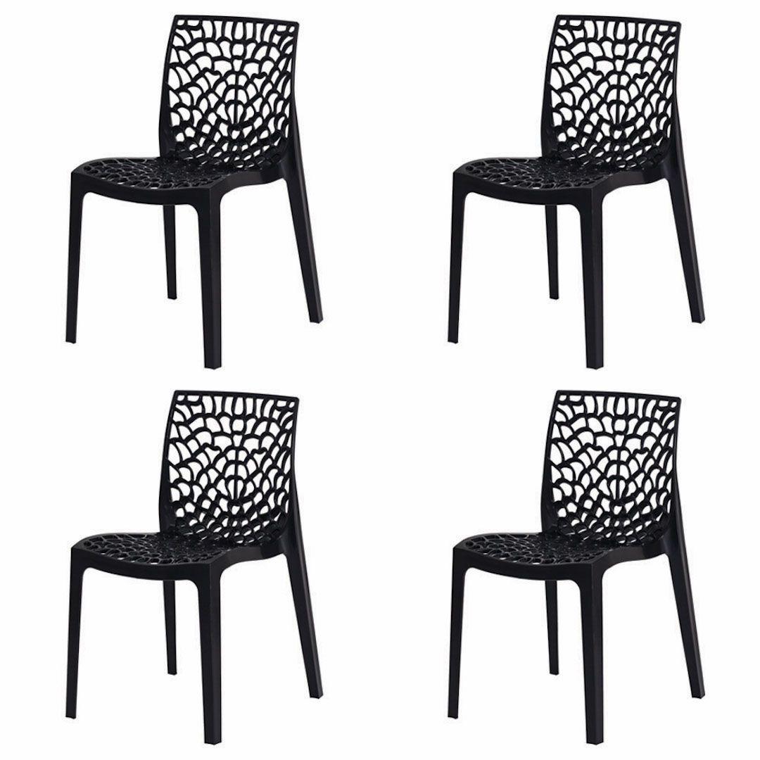 Kit 4 Cadeiras De Jantar Gruvyer Design Preto Com Inmetro