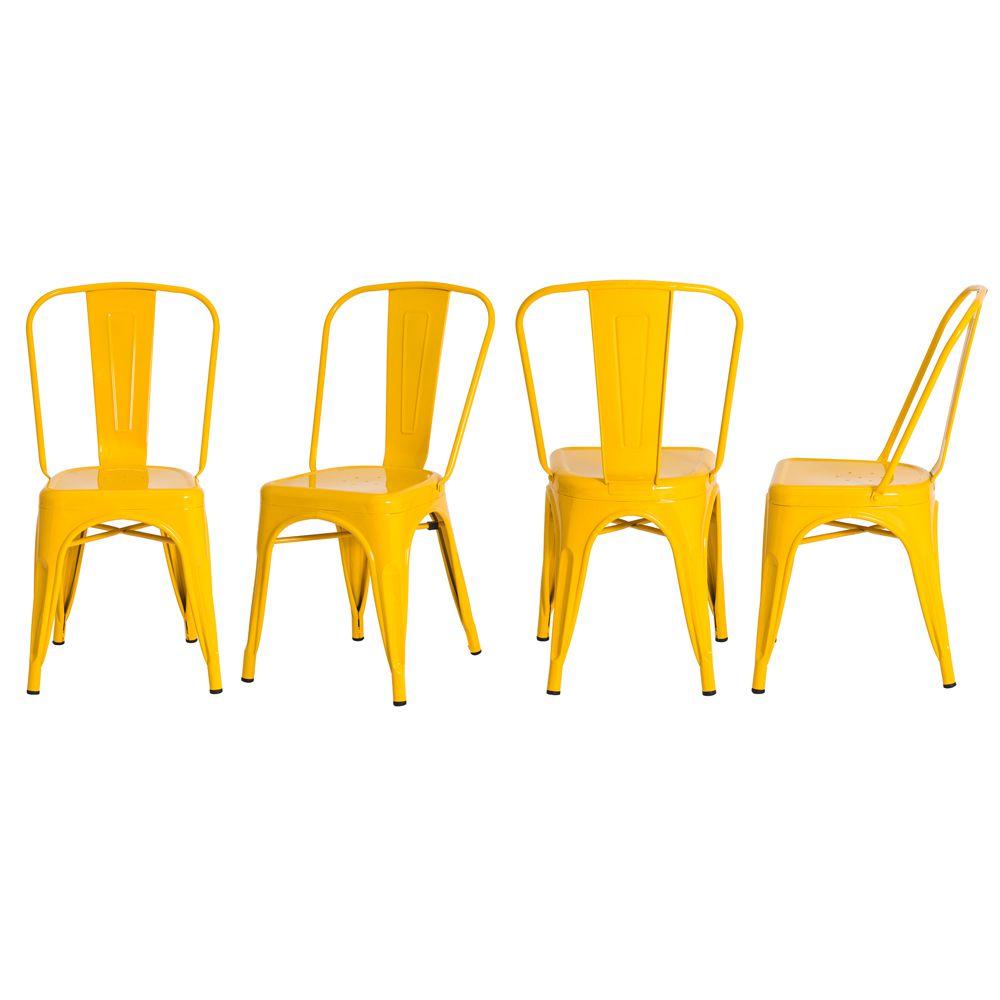 Kit 4 Cadeiras De Jantar Tolix Iron Industrial Amarela
