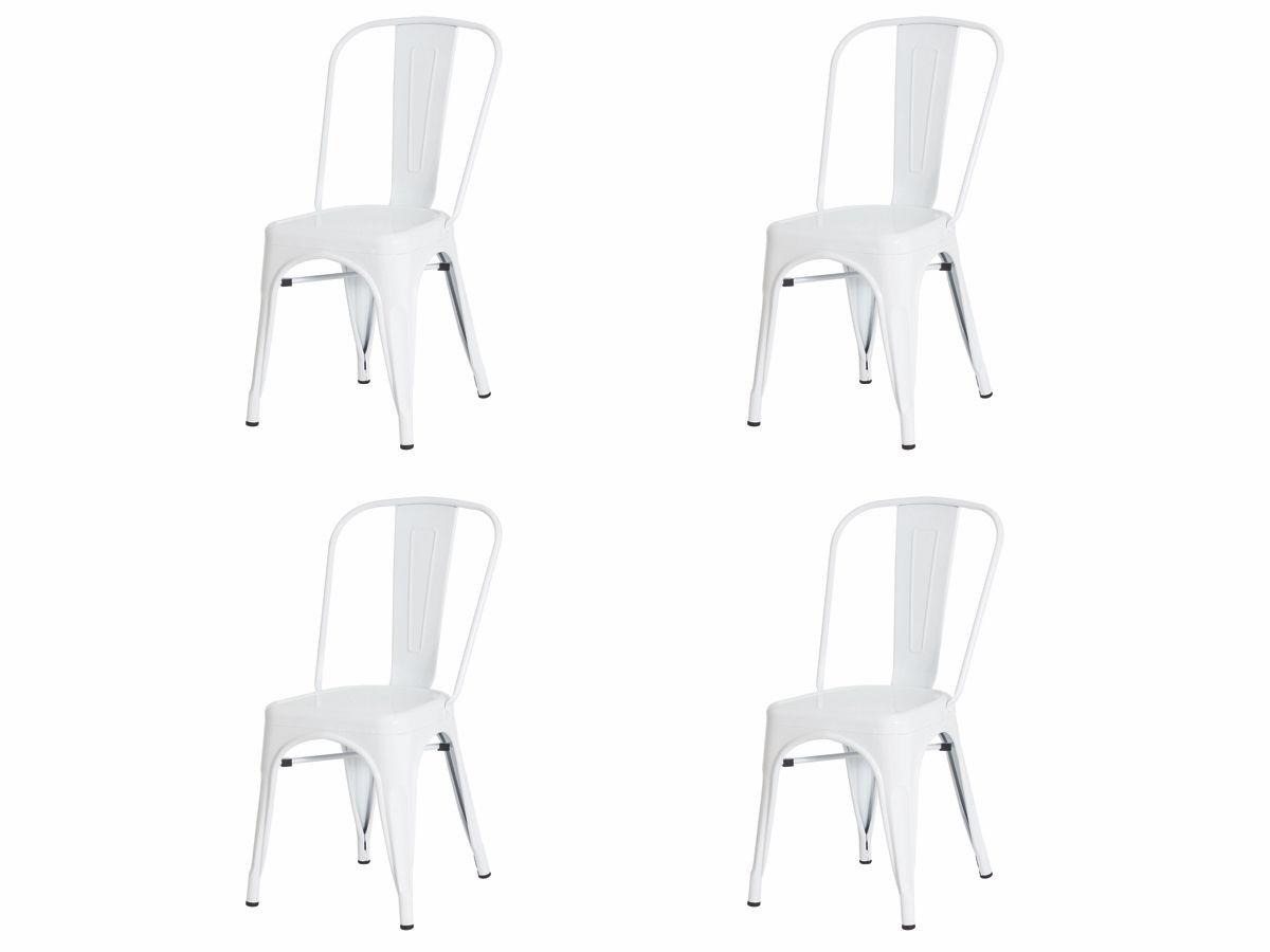 Kit 4 Cadeiras De Jantar Tolix Iron Industrial Branca
