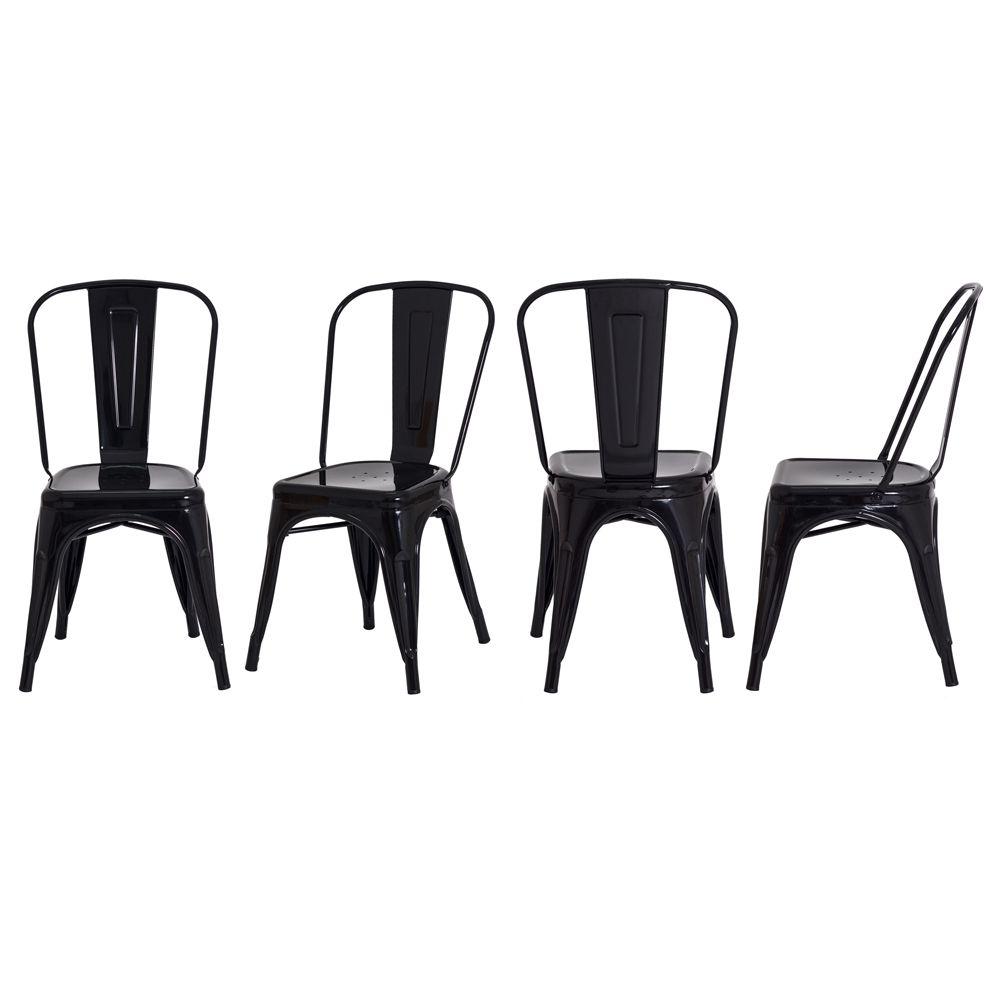 Kit 4 Cadeiras De Jantar Tolix Iron Industrial Preta