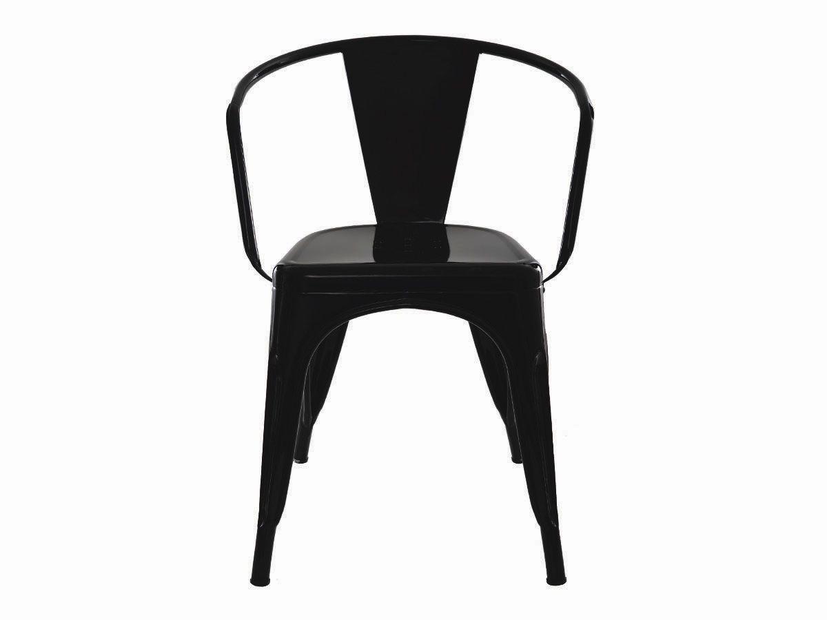 Kit 4 Cadeiras Para Mesa Sala De Jantar Tolix Iron Industrial Com Braço Preta