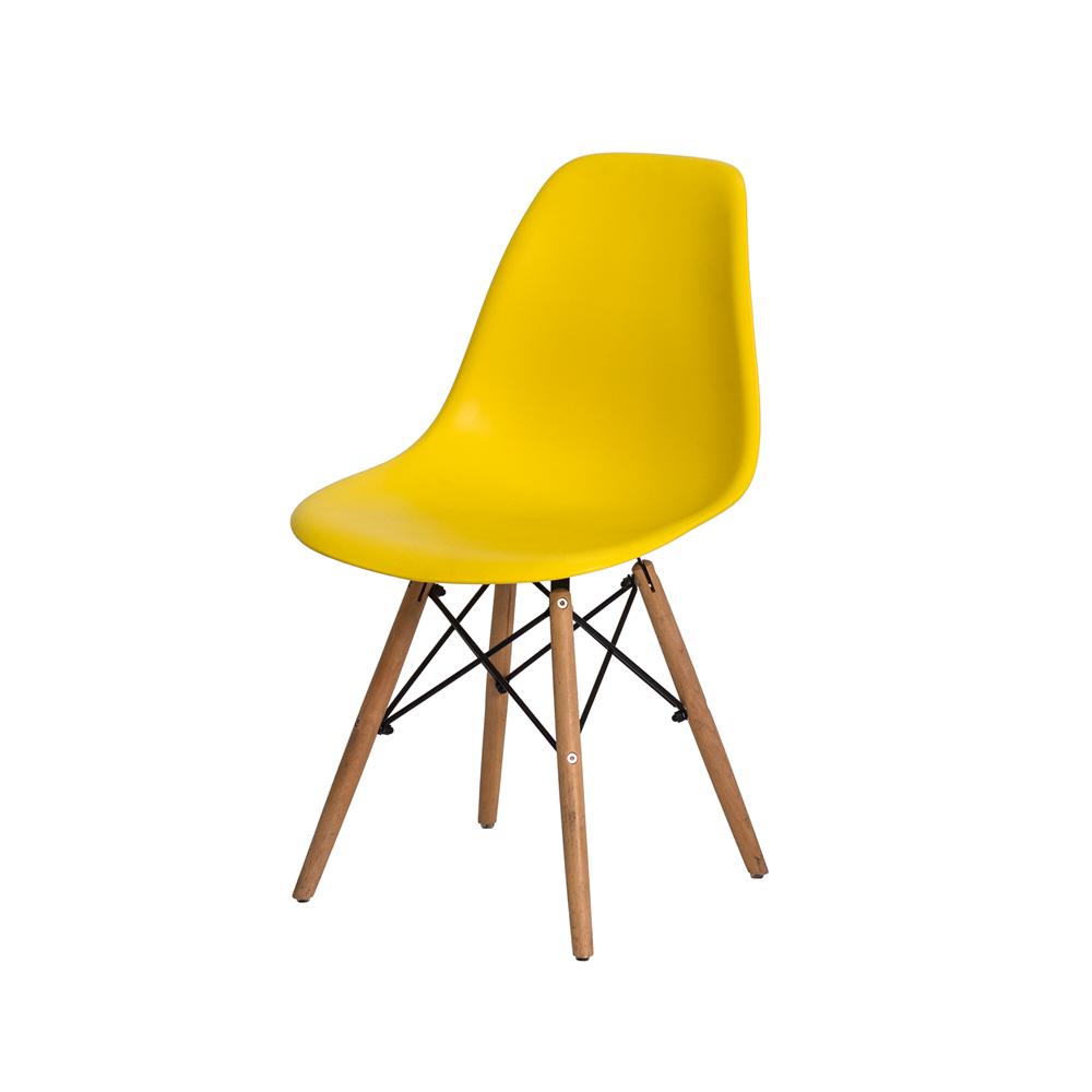 Kit 6 Cadeiras De Jantar Charles Eames Eiffel Amarelo Base De Madeira