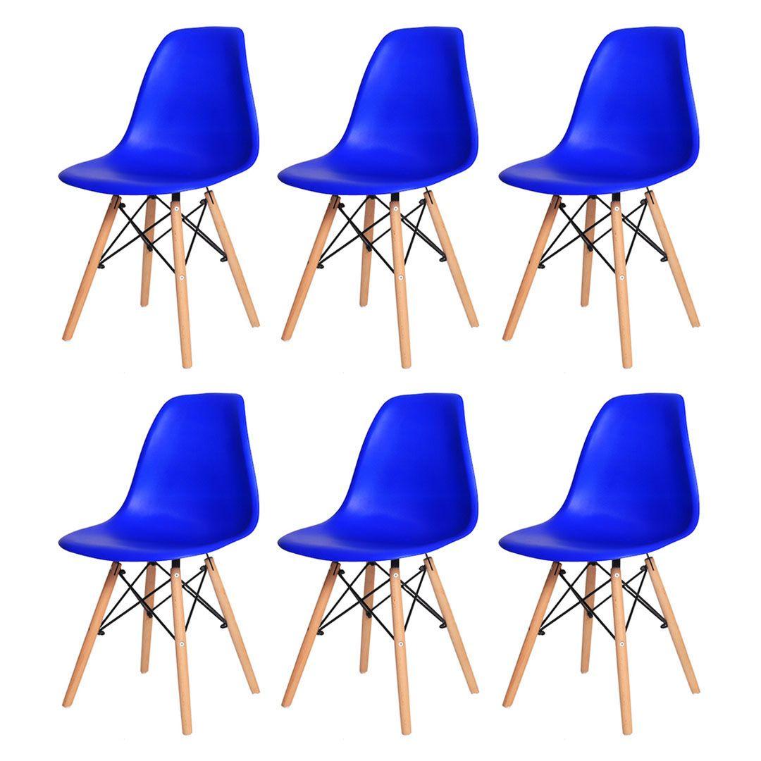 Kit 6 Cadeiras De Jantar Charles Eames Eiffel Azul Bic Base De Madeira
