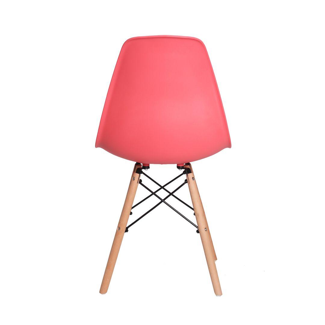 Kit 6 Cadeiras De Jantar Charles Eames Eiffel Coral Base De Madeira