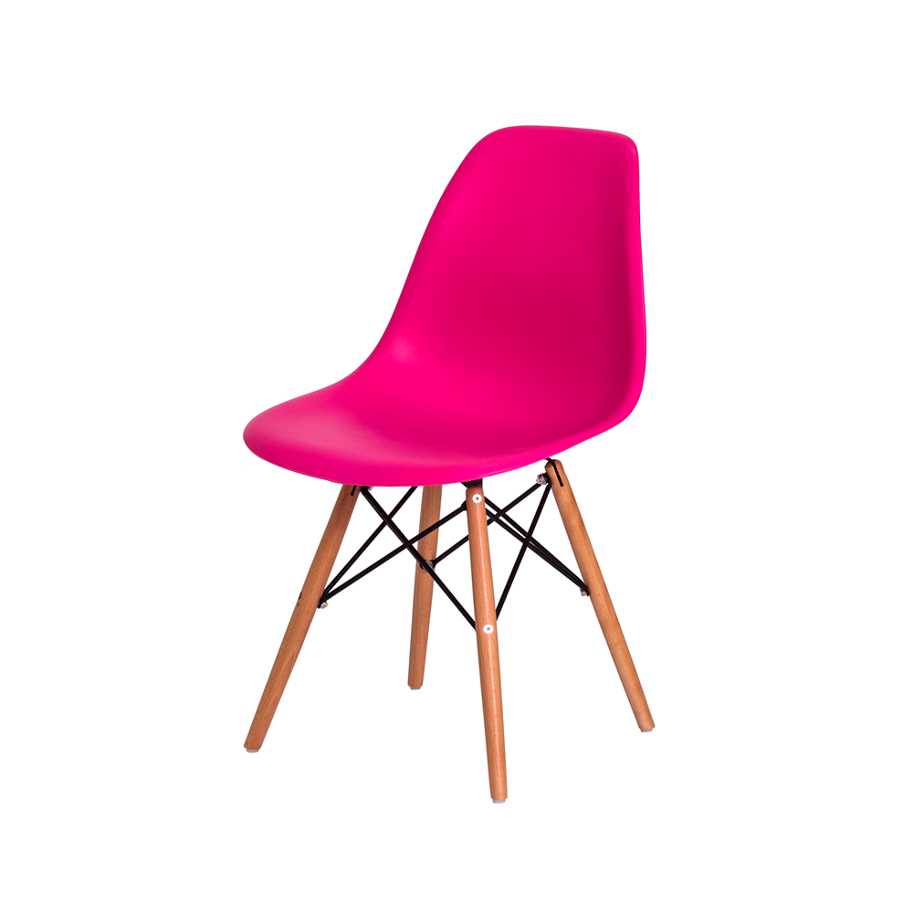 Kit 6 Cadeiras De Jantar Charles Eames Eiffel Pink Base De Madeira