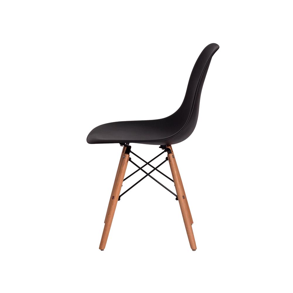 Kit 6 Cadeiras De Jantar Charles Eames Eiffel Preta Base De Madeira