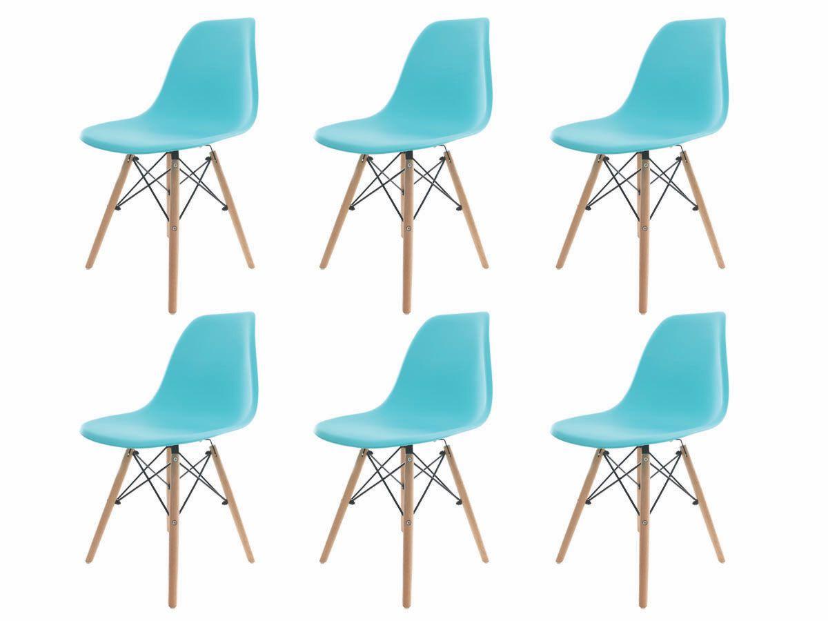 Kit 6 Cadeiras De Jantar Charles Eames Eiffel Tiffany Base De Madeira