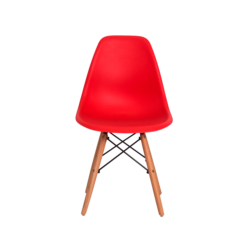 Kit 6 Cadeiras De Jantar Charles Eames Eiffel Vermelha Base De Madeira