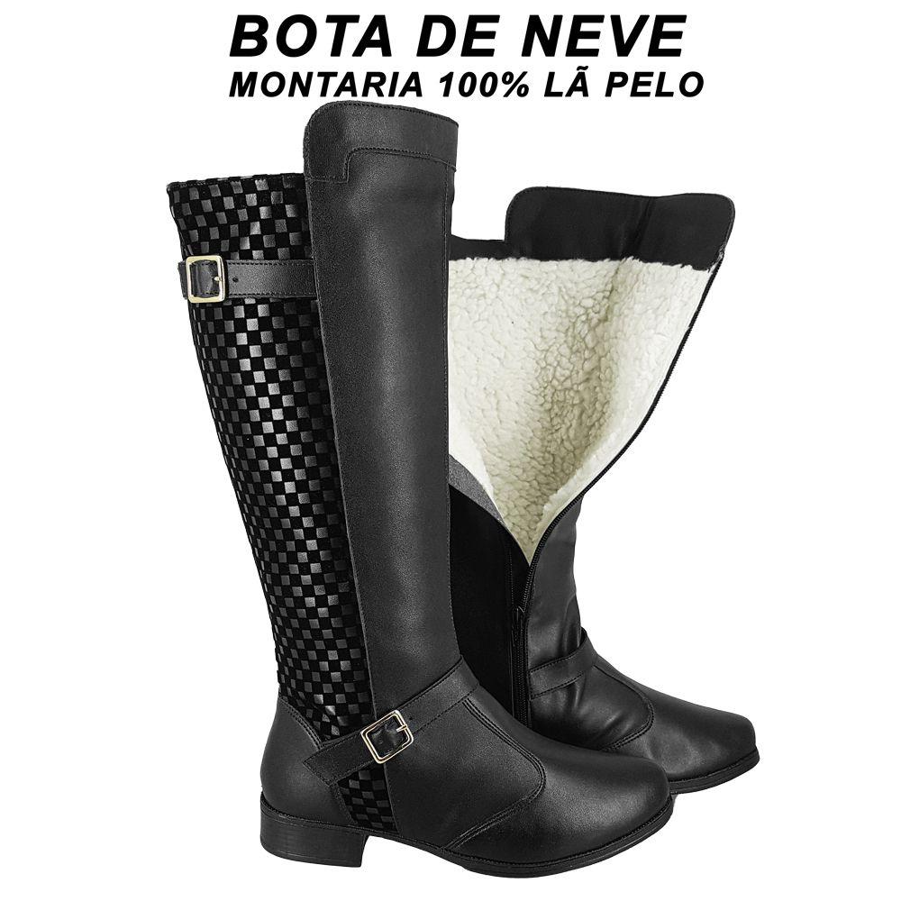 Bota de Neve Feminina 100% forrada Lã Pelo Montaria Inverno Impermeável T401-IMP