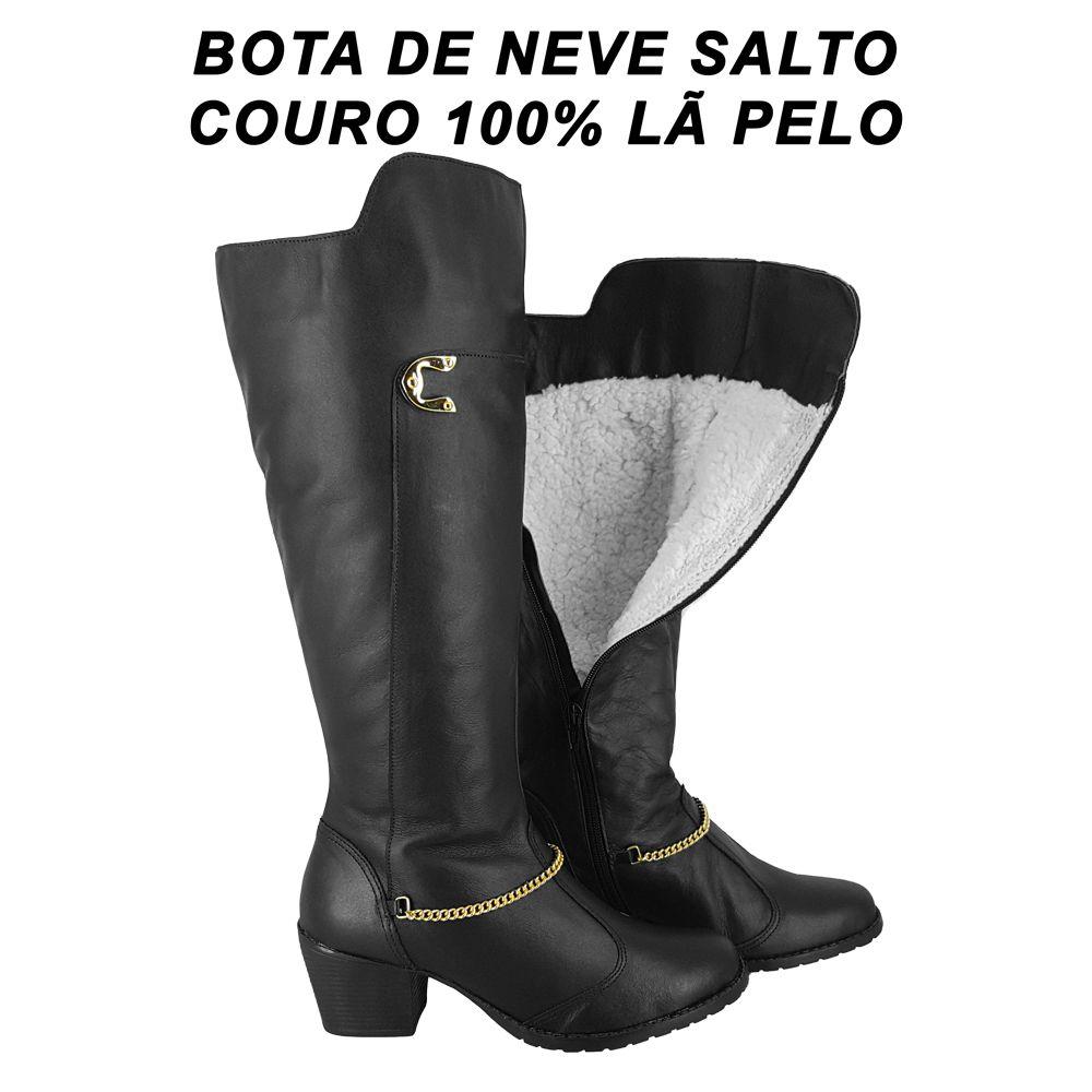 Bota Feminina Couro Neve 100% forrada Lã Pelo Salto Alto Médio Inverno Impermeável W4103S-P