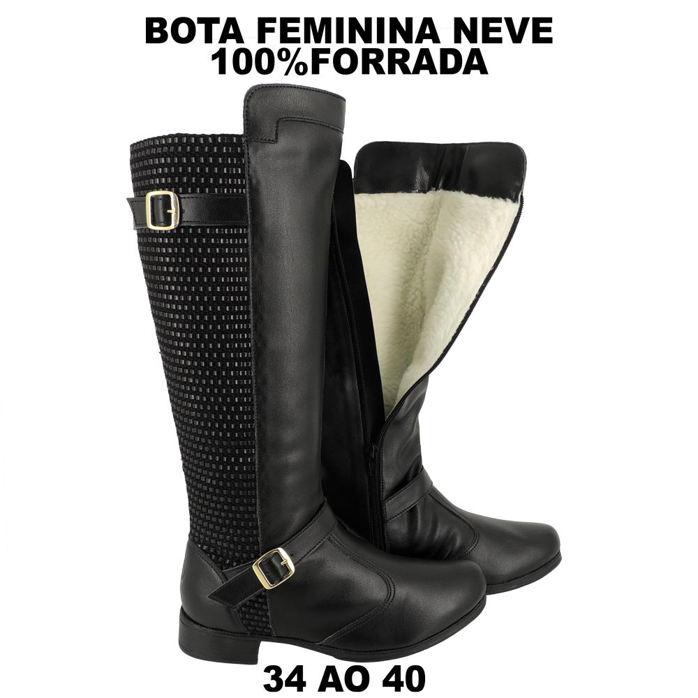 Bota Feminina Montaria de Neve 100% forrada Lã Pelo Montaria Inverno Impermeável LB401
