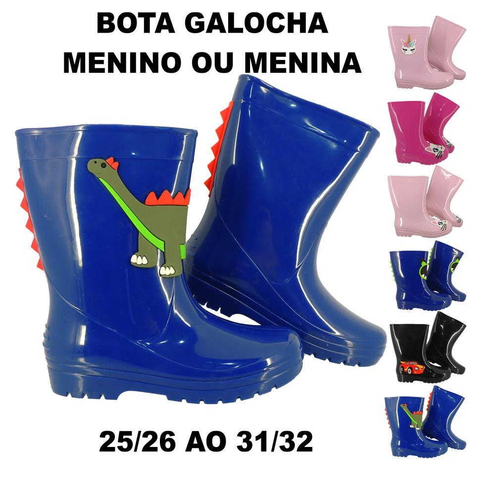 Bota Infantil Galocha Borracha Impermeável Menino Menina Confort LB4022