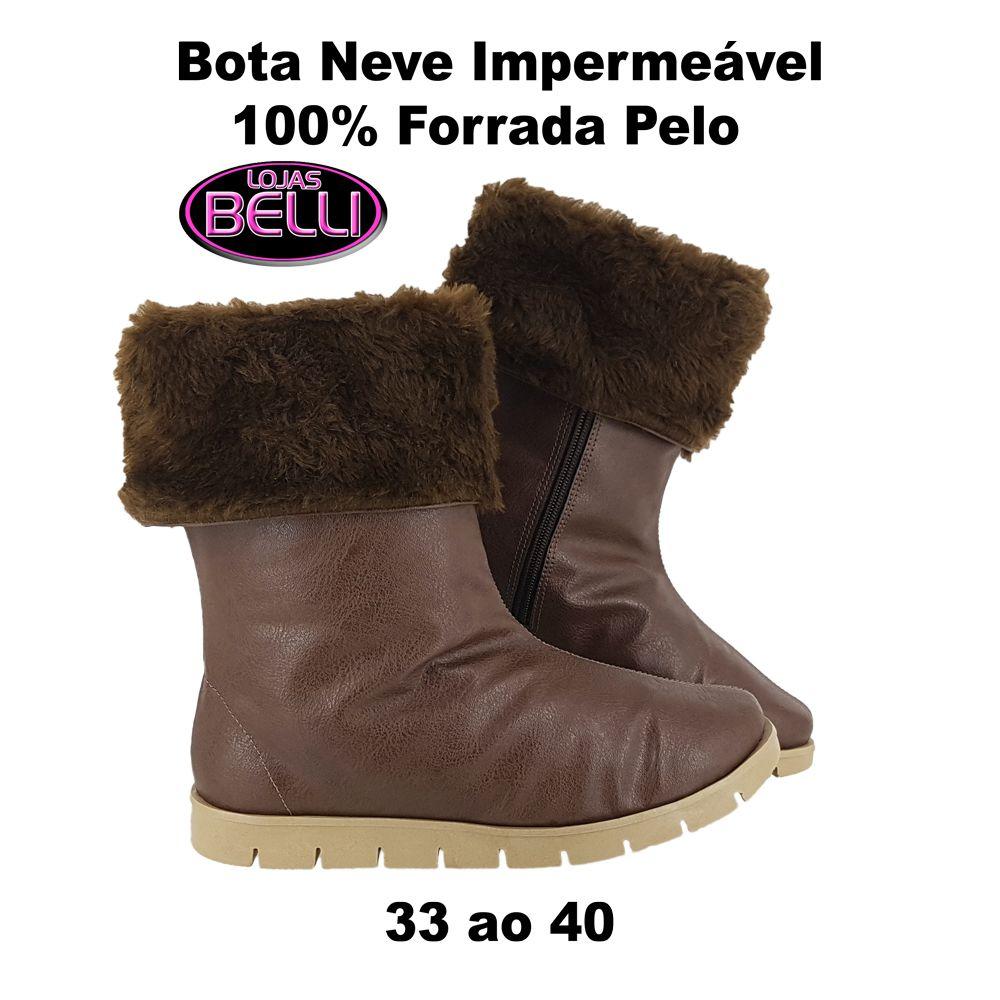 Bota Neve Feminina Pelo Lã Inverno Dentro Impermeável T251-IMP